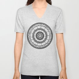 Circle - Mandala - Love Wealth Health Youthfulnes - White Black Unisex V-Neck