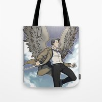 castiel Tote Bags featuring Castiel by DeanDraws
