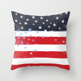 Patriotic Grunge Stars and Stripes Throw Pillow