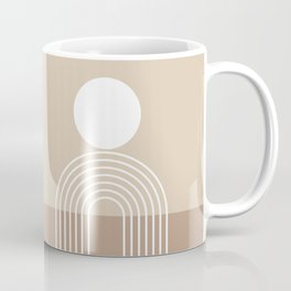 Geometric Lines in Beige and Brown (Sun and Rainbow abstraction) Coffee Mug