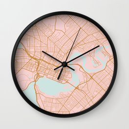 Pink and gold Perth map, Australia Wall Clock