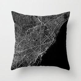 Barcelona Black Map Throw Pillow