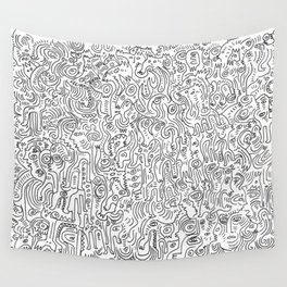 Graffiti Black and White Pattern Doodle Hand Designed Scan Wall Tapestry