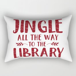 Jingle All The Way To The Library (Red) Rectangular Pillow
