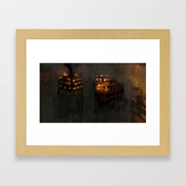 Burning city buildings urban destruction digital illustration Framed Art Print