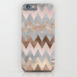 Rose Gold Chevron Glitter Glamour Marble Gem iPhone Case