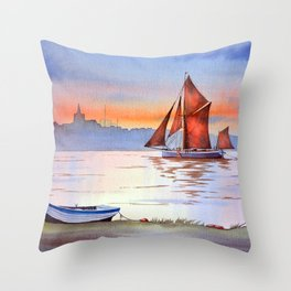Thames Barge At Maldon England Throw Pillow