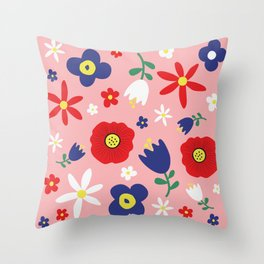 Spring Flowers Floral Pattern on Pink Throw Pillow