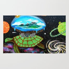Cosmic Turtle Journey Through Space Rug