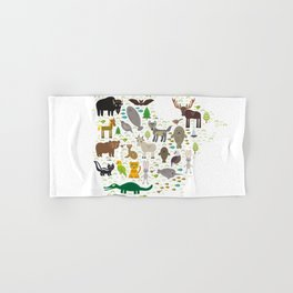 Map of North America with Animals bison bat manatee fox elk horse wolf partridge seal Polar bear Hand & Bath Towel