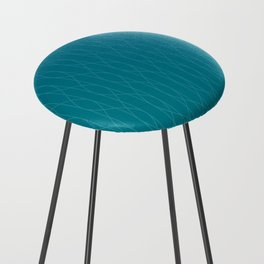 Wave pattern in teal Counter Stool