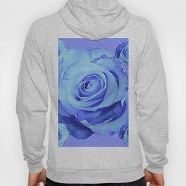 LIGHT BLUE ROSES & BLUE  MODERN ART GARDEN Hoody