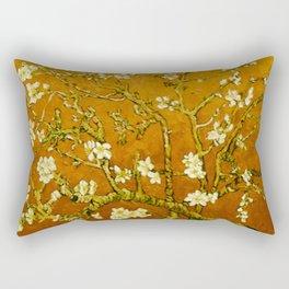 Almond Blossoms- Orange Rectangular Pillow