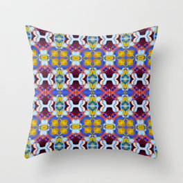Woman with Sunflower - Lilac Throw Pillow