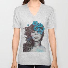 Softly Spoken Agony blue | flower girl pencil portrait Unisex V-Neck