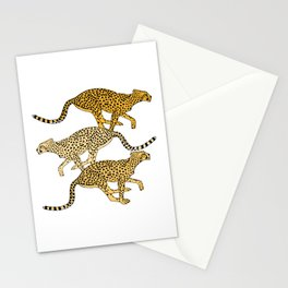 Go Cheetahs Go Pen and Ink by Lorloves Design Stationery Cards