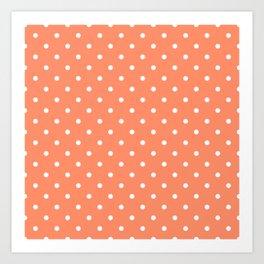 Peach Polka Dots Art Print