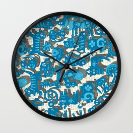 chinese animals blue Wall Clock