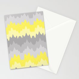 Yellow Grey Gray Ombre Chevron Abstract Zigzag Stationery Cards