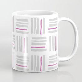 Stripes×Checkered Pattern_White&Pink Coffee Mug
