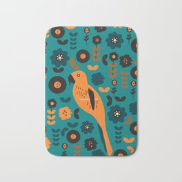 Parrot and flowers Bath Mat