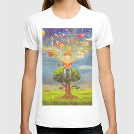 Little boy sitting on the tree and  reading a book, objects flying out T-shirt