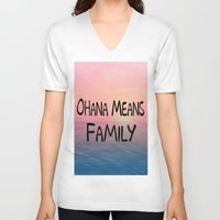 ohana V-neck T-shirts featuring Ohana by Amy Copp