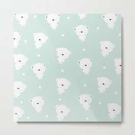 Teddy  polar bear pattern  and light blue background. Metal Print