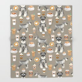 Schnauzer coffee dog breed pet art pure breed cafes pupuccino Throw Blanket