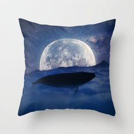 flying night whale Throw Pillow