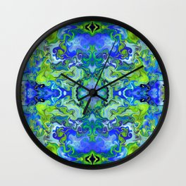 Lime and Blue Marble Wall Clock