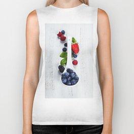 Berries with spoon Biker Tank