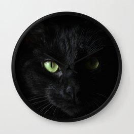 Black cat | Witchy cat | Green eyes | Cat love | Happy halloween Wall Clock