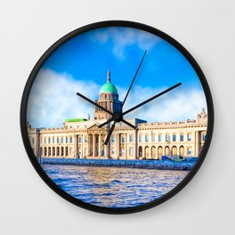 The Neoclassical Custom House In Dublin Ireland Wall Clock