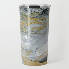 Old Money - Abstract Paintng in Metallic Gold, Silver, and Black Travel Mug