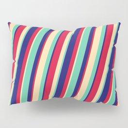Crimson, Tan, Aquamarine, and Midnight Blue Colored Pattern of Stripes Pillow Sham