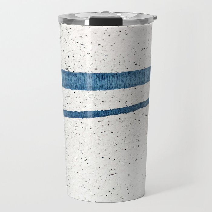 Parallel Universe [horizontal]: a pretty, minimal, abstract piece in lines of vibrant blue and white Travel Mug