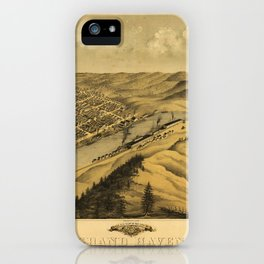 Bird's Eye View of Grand Haven, Michigan (1868) iPhone Case