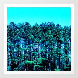 Turquoise Sky Mint Green Trees Art Print