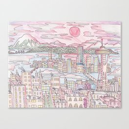 Seattle in Colored Pencil Canvas Print