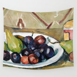 Paul Cézanne - Plate with Fruit and Pot of Preserves Wall Tapestry
