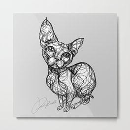 sweet cat line style - gatto dolce - chat doux - gato dulce B/W Metal Print