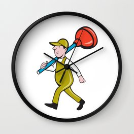 Plumber Carrying Plunger Walking Isolated Cartoon Wall Clock