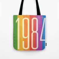 1984 Tote Bags featuring 1984 (v) by Dan Rubin