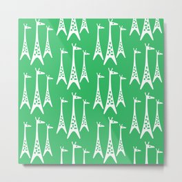 Mid Century Modern Giraffe Pattern 223 Green Metal Print