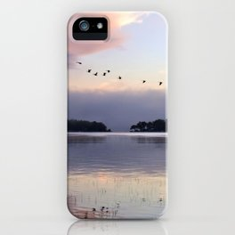 Uplifting II: Geese Rise at Dawn on Lake George iPhone Case