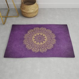 Golden Flower Mandala on Textured Purple Background Rug