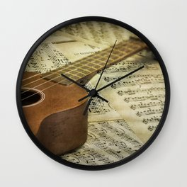 Do a Little Jig; ukulele with sheet music in the background Wall Clock