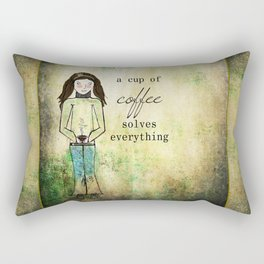A Cup of Coffee Solves Everything Rectangular Pillow
