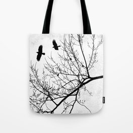 Crows Flying Birds in Tree Branches Black on White Tote Bag